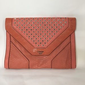 Large Tangerine Guess Clutch with spikes